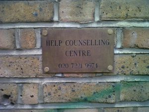 Help Counselling Centre plaque on the wall