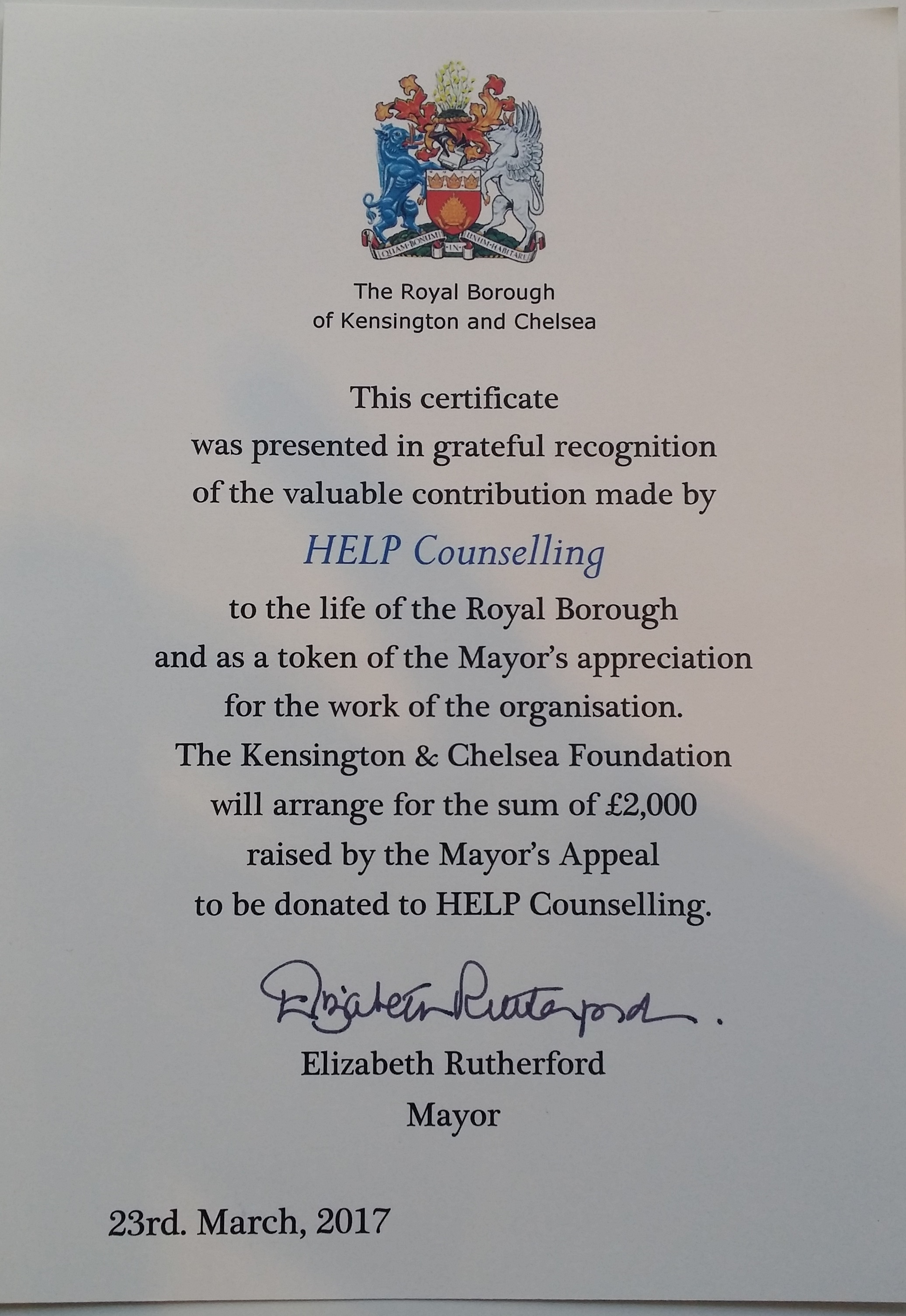Mayor RBKC certificate £2000 donation